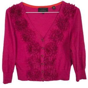 Ted Baker Cropped Cardigan with Flowers Hot Pink 0